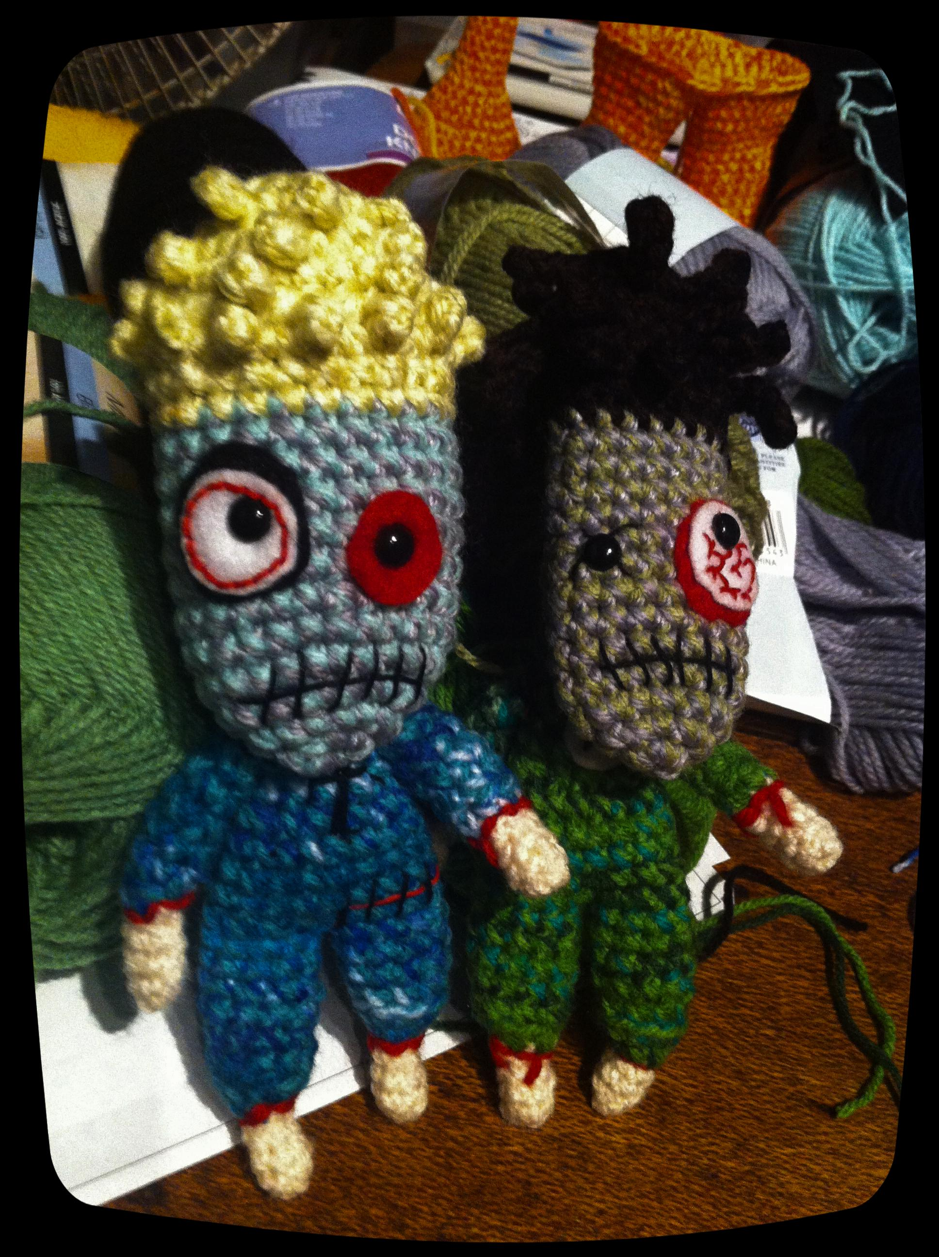 Zombified Tom & Alex amigurumi dolls