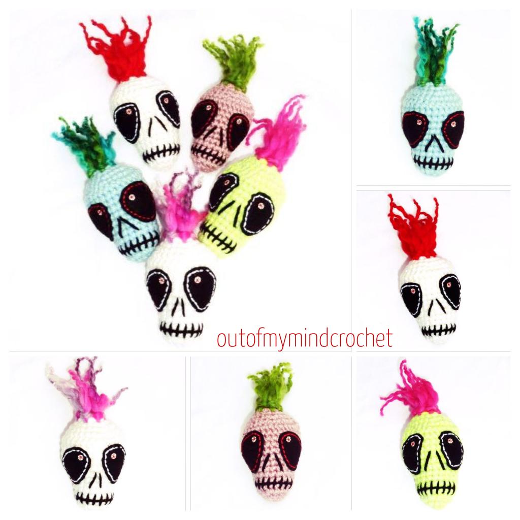 5 crochet skulls, skulkas